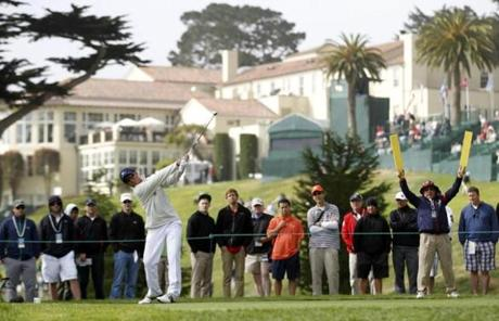 Amateur Andy Zhang, shown teeing off on the fourth hole, was the youngest player in the field at 14.