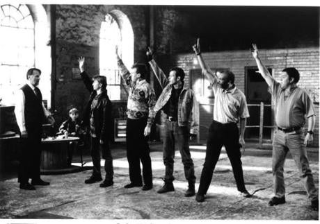 "Tom Wilkinson, William Snape, Robert Carlyle, Steve Huison, Hugo Speer, Paul Barber, Mark Addy in ""The Full Monty."""