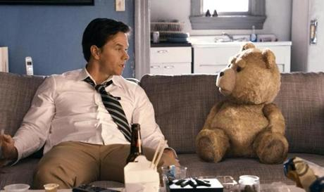 "Mark Wahlberg in ""Ted,"" as an adult who must deal with his teddy bear."