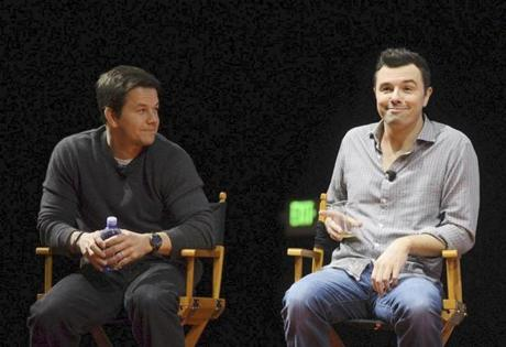 "Mark Wahlberg (left) and Seth MacFarlane discuss their movie ""Ted"" earlier this year at South by Southwest in Austin, Texas."