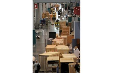 Companies began preparing their booths well in advance of the event.