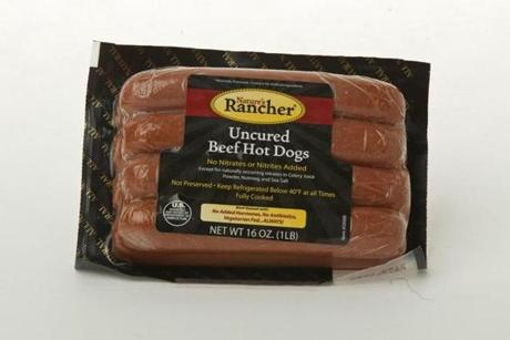 6/21/12 Boston, MA Nature's Rancher Uncured Beef Hot Dogs in the studio on Thursday June 21, 2012. (Matthew J. Lee) slug: 0722hotdog section: living reporter: Althoff