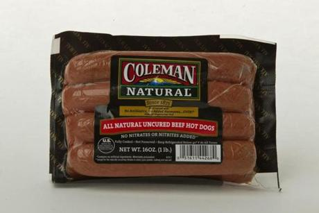 "Coleman Natural Uncured Beef Hot Dog (8 links/16 oz./$4.99 at Market Basket); comments . . . ""Unremarkable."" ""A little greasy."" ""Good flavor."""