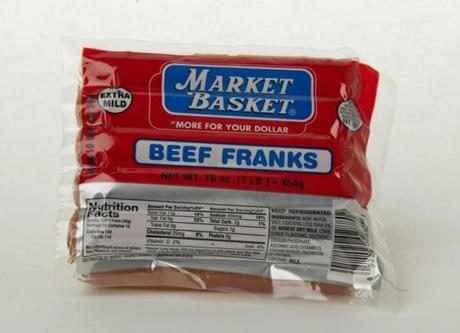 "Market Basket Beef Franks (10 links/16 oz./$2.19 at Market Basket); comments . . . ""Salty aftertaste."" ""Middle of the 'pack.' Get it?"""