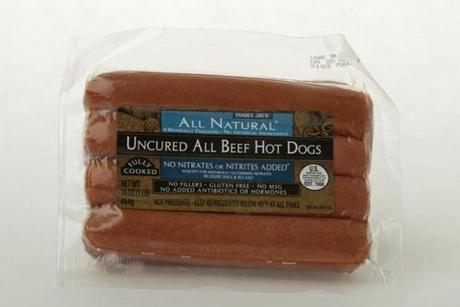 "Trader Joe's Uncured All Beef Hot Dogs (8 links/16 oz./$4.49 at Trader Joe's); comments . . . ""Maple."" ""Meaty."" ""Seven out of 10."""