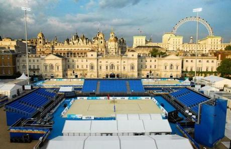 A wider view of Horse Guards Parade, a venerable venue remade for beach volleyball.