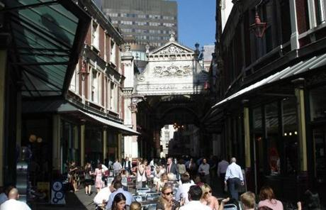 London's grand Victorian mall, Leadenhall Market, is ideal for dining and people watching.