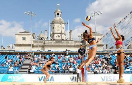Athletes tested the London Olympics beach volleyball venue at Horse Guards Parade.