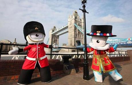 Olympic mascots Wenlock and Mandeville prepared to welcome the world.