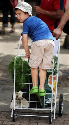 Rafael Ronen (right), 5, learned about healthy eating at the Union Square Farmers Market.
