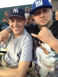 Superfans Phil Alberga, left, and Frankie Pomilla during the Yankees 15-9 rout of the Sox on April 21.