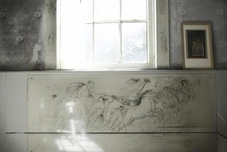 """May Alcott's drawing on her bedroom wall, Orchard House, Concord, Massachusetts, 2010"""