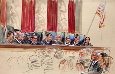 An artist's rendering showed Chief Justice John Roberts, center, speaking as the Supreme Court upheld the Affordable Care Act in a 5-4 ruling.