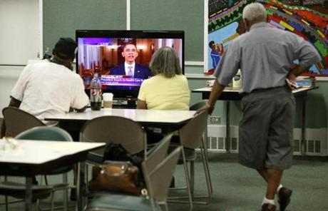 Chicago area senior citizens went to a local cooling center to escape the summer heat and watch President Barack Obama's reaction to the ruling.
