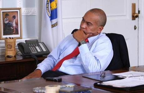 Massachusetts Governor Deval Patrick watched President Obama on television after the ruling.