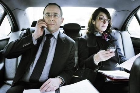 "Olivier Gourmet (left) and Zabou Breitman star ""The Minister,"" a film about political power struggles."