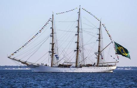 Cisne Branco, a tall ship of the Brazilian Navy, was in Boston Harbor.