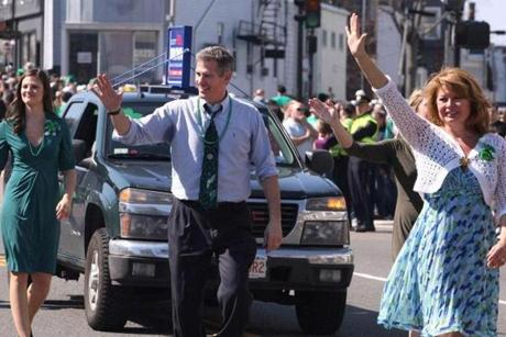 Brown was joined by his family at the St. Patrick's Day parade in South Boston.