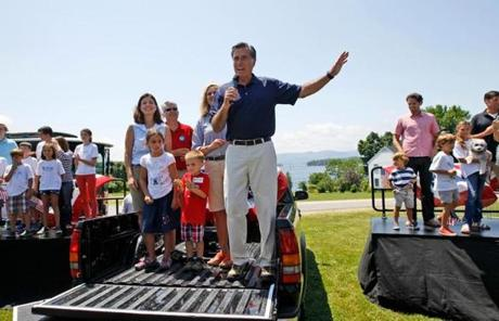 Romney spoke to supporters in Wolfeboro on the Fourth of July.