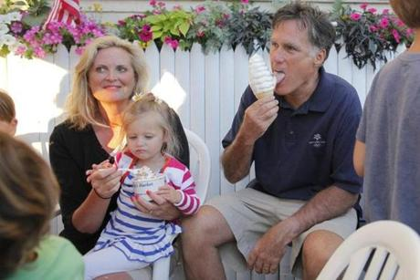 Mitt Romney and Ann ate ice cream from Bailey's Bubble in Wolfeboro.