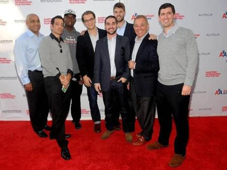 At a 2011 screening (from left): Omar Minaya, formerly of the Mets; Isaac Solotaroff , producer; Miguel Sano; directors Jon Paley, Ross Finkel, and Trevor Martin; and producers Bobby Valentine and Andrew Muscato.