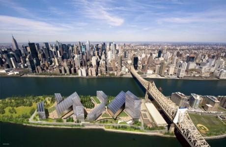 Rendering of the future tech campus on Roosevelt Island.