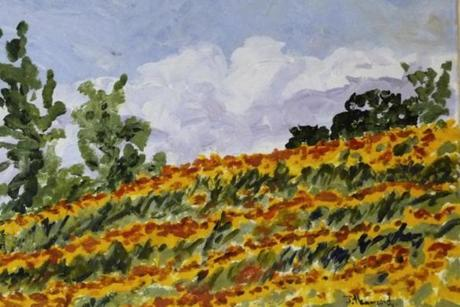 """Sunflower Field,"" by Joanna Hammond, is among the works in ""Summertime,"" at the Bridge Gallery in Newburyport."