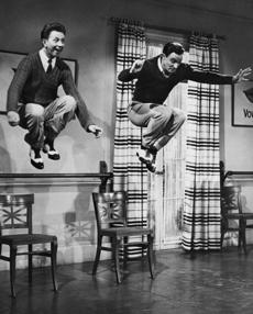 "Gene Kelly danced with Donald O'Connor in ""Singin' in the Rain."""