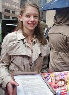 Julia Bluhm carried petitions to Seventeen magazine when she led a protest in New York.