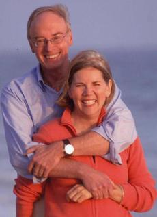 Senate candidate Elizabeth Warren and her spouse, Bruce Mann.
