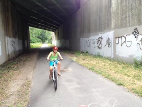 Lila Hempel-Edgers on the Bruce Freeman Bike Trail.