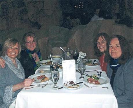"Mohegan Sun regularly offered Deborah Greenslit (second from left) perks like complimentary meals for her sisters at casino restaurants: ""I was being treated like a queen,"" she said. But the slot machines were always a draw."