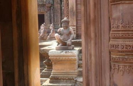 Carvings at Banteay Srei temple, part of the Angkor complex.