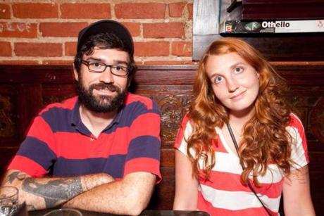 7/14/12 Somerville, MA -- From left, Patrick Murphy and Kristy Murnane, both of Somerville, at The Independent in Union Square July 14, 2012. Erik Jacobs for the Boston Globe