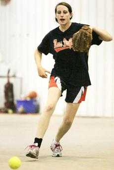 Katie Casey, a two-sport athlete at Braintree High, pitches for the 18-U Gold squad.