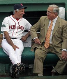 HOME TEAM: Red Sox manager Bobby Valentine chats with Boston Mayor Tom Menino before a game against the Chicago White Sox, Fenway Park on July 18