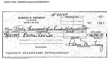 Patrice Tierney wrote a check for $40,540 to the Red Sox for season tickets from the illegal gambling funds.