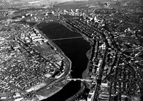 Aerial view of the Charles River made on August 8, 1954.