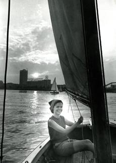 Susan Keane of Cambridge sailed on the Charles on the evening of July 12, 1967. Few large cities at this time had such beautiful and accessible sailing as the Charles River Basin. Community boating was the only program in the country where a fleet of sailboats and instruction were made available at nominal rates to both adults and youngsters and membership was open to all, regardless of residence.