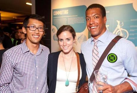 HOW THEY ROLL: Andrew Ching of Back Bay, Lindsay Evans of Providence, and Calvin Richardson of Somerville at bike-sharing service Hubway's first birthday party, Boston Society of Architects on July 24