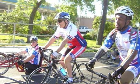 Casey (center) in the 2011 Ride 2 Recovery from Liberty Park, N.J., to Shanksville, Pa., to Washington, D.C., on the 10th anniversary of 9/11. Casey will speak at the Pan-Mass Challenge on Friday and join the ride on Saturday morning.