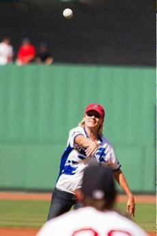 Legg threw out the first pitch at PMC Day at Fenway Park on June 9.