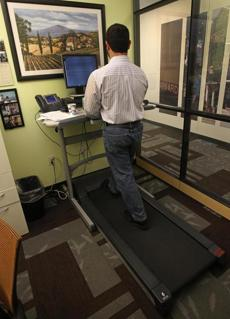 Ironwood's cofounder and senior vice president, Brian Cali, worked on the treadmill.
