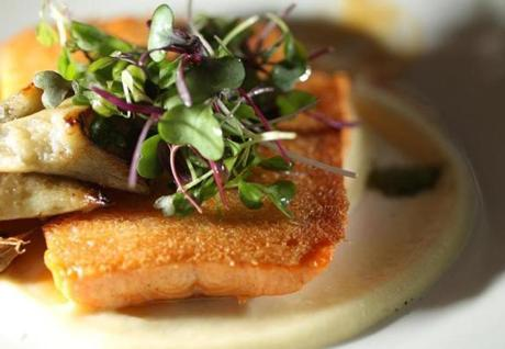 Arctic char is paired with artichokes.