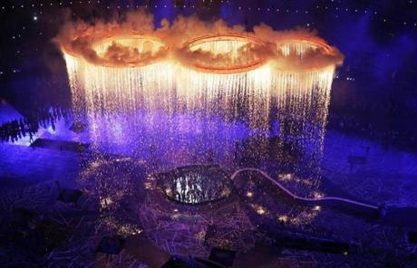 The Olympic rings lit up the stadium during the Opening Ceremony.