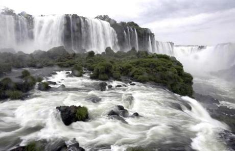 The Iguazu River, which cascades spectacularly over basalt cliffs, divides Misiones, Argentina's northeasternmost province, from Brazil.