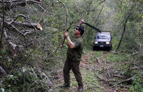 Guide Fidel Ramirez used a machete to clear the path.