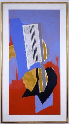"Robert Motherwell's ""Blue Guitar'' (1990), collage, acrylic paint, and crayon on canvas panel."