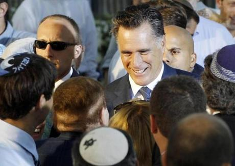 Mitt Romney talked to Sheldon Adelson on Sunday in Jerusalem.