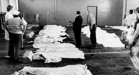 July 31, 1973: Bodies were lined up in a makeshift morgue at Logan Airport after the crash. Within seconds after the crash, 15 area hospitals were alerted by radio to prepare for crash victims. Sadly, most of the bodies were transported to the morgue at Boston City Hospital and MGH where nurses waited to calm and comfort relatives. There was only one survivor who died 133 days later in the hospital.